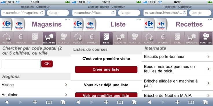 carrefour site mobile