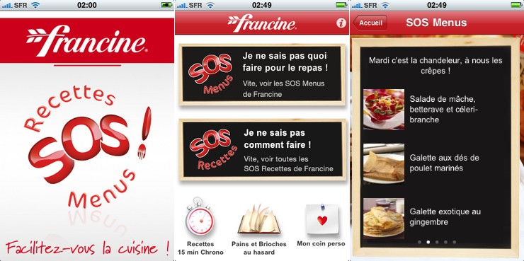 application iphone cuisine francine