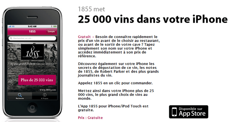 application iphone vin 1855 guide comparateur