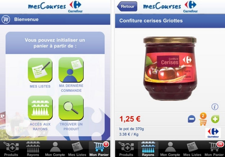 test faire ses courses sur iphone avec carrefour mes courses. Black Bedroom Furniture Sets. Home Design Ideas